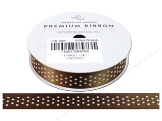 American Crafts Satin Ribbon with Dots 5/8 in. x 4 yd. Chestnut