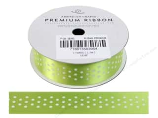 American Crafts Satin Ribbon with Dots 7/8 in. x 3 yd. Leaf