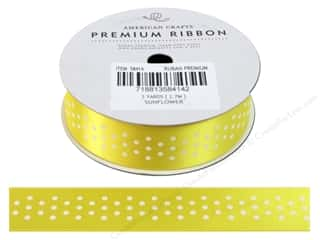 American Crafts Satin Ribbon with Dots 7/8 in. x 3 yd. Sunflower