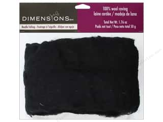 Dimensions Feltworks 100% Wool Roving Black 1.76 oz.