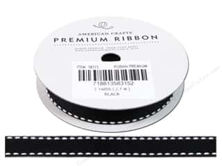 American Crafts Grosgrain Ribbon with Saddle Stitch 1/2 in. x 3 yd. Black