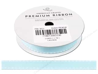 American Crafts Grosgrain Ribbon with Saddle Stitch 1/2 in. x 3 yd. Lagoon