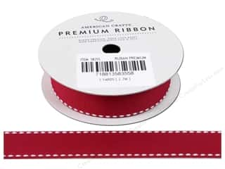 American Crafts Grosgrain Ribbon with Saddle Stitch 3/4 in. x 3 yd. Scarlet