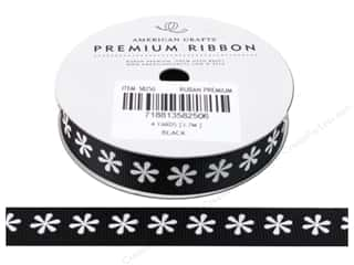 American Crafts Grosgrain Ribbon with Flowers 5/8 in. x 4 yd. Black