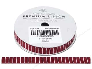 American Crafts Grosgrain Ribbon with Lines 3/8 in. x 5 yd. Rouge
