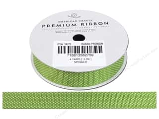 American Crafts Grosgrain Ribbon with Stars 5/8 in. x 4 yd. Spinach