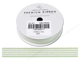 American Crafts Woven Ribbon with Stripes 5/8 in. x 4 yd. Mint & White