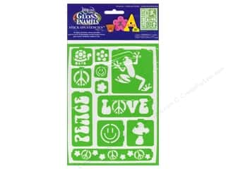 Clearance DecoArt Stencil Paint 4oz: DecoArt Americana Gloss Enamels Stick-On Stencils 6 x 8 in. Just Groovy