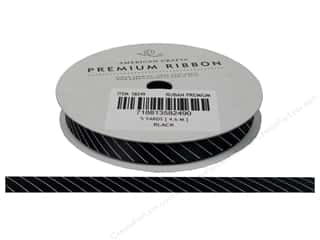 American Crafts Satin Ribbon with Slant Stripe 3/8 in. x 5 yd. Black