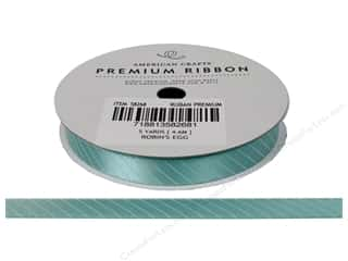 American Crafts Satin Ribbon Slant Stripe 3/8 in. x 5 yd. Robin's Egg