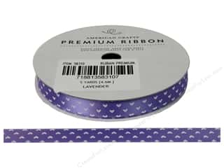 American Crafts Satin Ribbon with Hearts 3/8 in. x 5 yd. Lavender