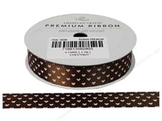 American Crafts Satin Ribbon with Hearts 5/8 in. x 4 yd. Chestnut