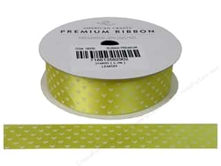 American Crafts Satin Ribbon with Hearts 7/8 in. x 3 yd. Lemon