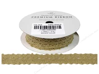 American Crafts Lace Crochet Ribbon 3/4 in. x 2 yd. Brown Sugar