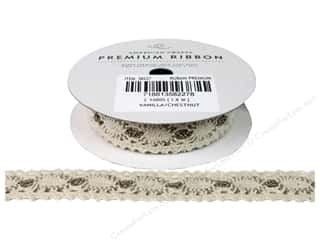 American Crafts Lace Crochet Ribbon 3/4 in. x 2 yd. Vanilla and Chestnut