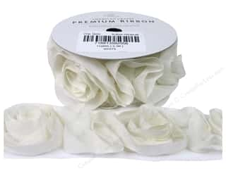 Tulle: American Crafts Tulle Ribbon Chiffon Rosette 1 1/2 in. x 1 yd. White