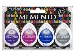 Tsukineko Memento Dye Ink Dew Drop Stamp Pad Set of 4 Rainy Daze