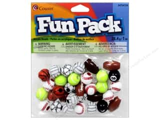 beading & jewelry making supplies: Cousin Fun Pack Sports Beads 1 oz. Assorted