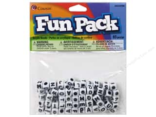 beading & jewelry making supplies: Cousin Fun Pack Alphabet Beads 85 pc. Square White