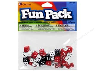 novelties: Cousin Fun Pack Dice Beads 62 pc. Black, White & Red