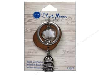 Clearance Blue Moon Pendant: Blue Moon Beads Wood & Shell Pendant Oxidized Silver Birdcage with Shell Bird