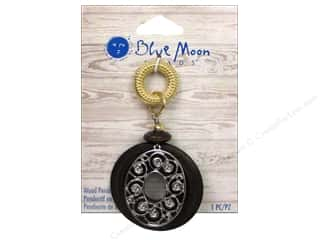 Clearance Blue Moon Pendant: Blue Moon Beads Wood Pendant Wood Drop With Metal Design