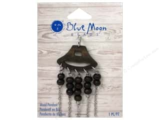 Clearance Blue Moon Pendant: Blue Moon Beads Wood Pendant Wood with Silver Chain & Wood Bead Fringe