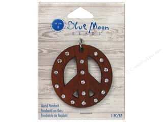 Clearance Blue Moon Pendant: Blue Moon Beads Wood Pendant Wood Peace Sign with Rhinestone