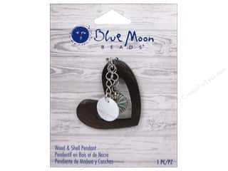 Clearance Blue Moon Pendant: Blue Moon Beads Wood & Shell Pendant Wood Heart with Shell Dangle
