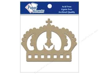 Paper Accents Chipboard Shape Crown 8 pc. Kraft