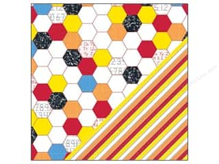 "Orange Peel Bazzill Cardstock: Bazzill Paper 12""x 12"" School Days Hexagon/Stripe 25pc"