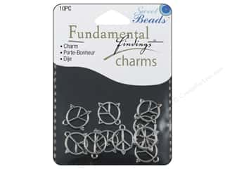 Sweet Beads Fundamental Finding Charms 10 pc. Peace Sign Silver
