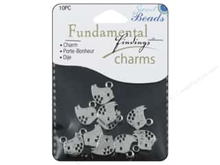beading & jewelry making supplies: Sweet Beads Fundamental Finding Charms 10 pc. Modern Bird Silver