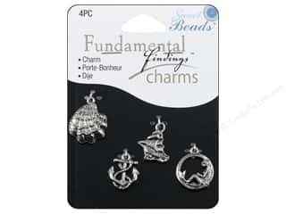 beading & jewelry making supplies: Sweet Beads Fundamental Finding Charms 4 pc. Seashore Silver