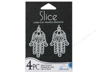 Sweet Beads Slice Metal Pendant Hand 4 pc. Silver