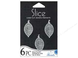 Sweet Beads Slice Metal Pendant Leaf 16 x 27 mm 6 pc. Silver
