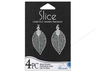Sweet Beads Slice Metal Pendant Leaf 4 pc. Silver