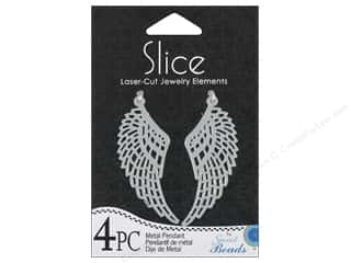 Sweet Beads Slice Metal Pendant Wing 4 pc.Silver