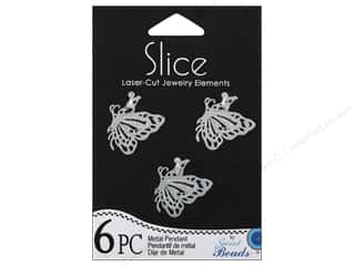 Sweet Beads Slice Metal Pendant Butterfly 6 pc. Silver