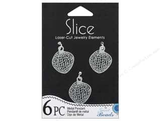 Sweet Beads Slice Metal Pendant Leaf 20 x 22 mm 6 pc. Silver