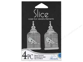 Sweet Beads Slice Metal Pendant Birdcage 4 pc. Silver