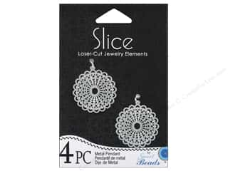 Sweet Beads Slice Metal Pendant 1 in. Round 4 pc. Silver