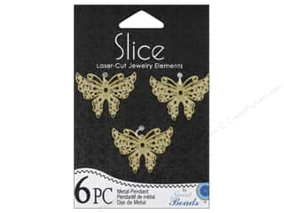 Sweet Beads Metal Pendant Medium Butterfly 6 pc. Gold