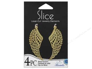 beading & jewelry making supplies: Sweet Beads Slice Metal Pendant Wing 4 pc. Gold