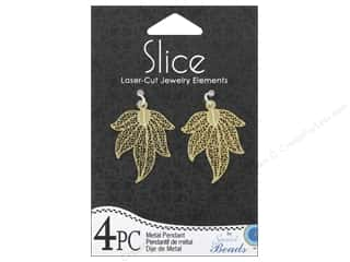 Sweet Beads Slice Metal Pendant 5 Point Leaf 2 pc. Gold