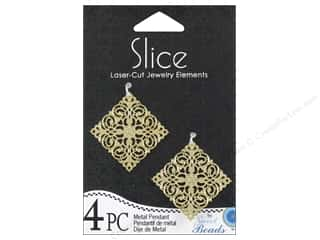 Sweet Beads Slice Metal Pendant 1 1/4 in. Diamond 4 pc. Gold