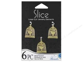 Sweet Beads Slice Metal Pendant Birdcage 6 pc. Gold