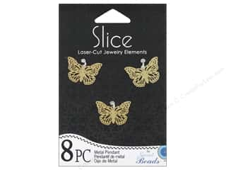 Sweet Beads Slice Metal Pendant Butterfly 8 pc. Gold