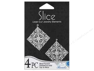 Sweet Beads Slice Metal Pendant 1 1/4 in. Diamond 4 pc. Silver