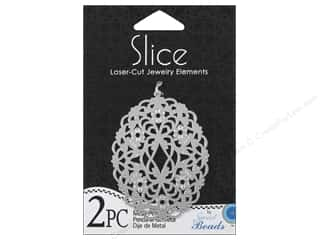 Sweet Beads Slice Metal Pendant Oval 2 pc. Silver
